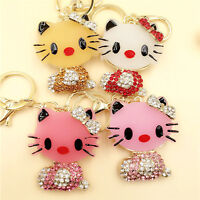 Rhinestone Hello Kitty Key Chain Purse Charm Key Ring--Fast Ship From U S