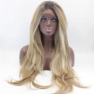 Handmade Long Light Ash Blonde Ombre Platinum Highlight Lace Wig Natural