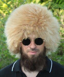 papakha papaha KHABIB sheepskin fur hat Russia Caucasus winter orange hat