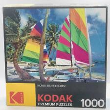 Kodak Premium Puzzle 1000 Pieces Colorful Sailboats on a Beach Factory Sealed