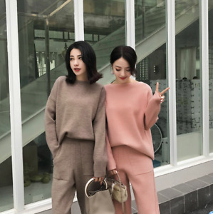 Womens Cashmere Knitted Solid Loose Fit Casual Sweater Pants 2Pcs Warm Suit Jin2