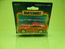 MATCHBOX MB-59 PORSCHE 944 TURBO - GOOD ON CARD-BLISTER - RED 1:57