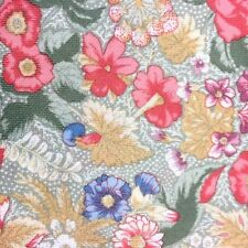 Floral Fabric 2.5 yards x 60 inches Flowers Stretchy Smooth Coral Gold Blue