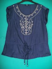 Ladies Size 14 Indigo Beaded Silky Tunic Top by Moda at George