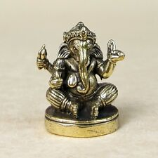 HINDU GOD Ganesha THAI AMULET BRASS LUCK RICH LOVE Miniature Holy Elephant / S