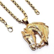 Gents/mens 9ct/9carat yellow gold horse head pendant and chain