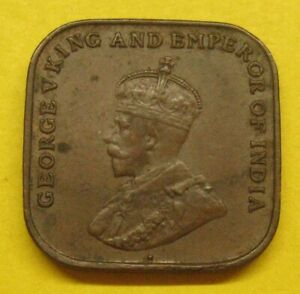 1920 Straits Settlements 1 Cent, George V, Square Coin, KM#32 Take a Look
