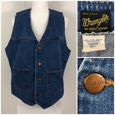 Wrangler No Fault Denims Womens Large Vest Motorcycle Made In USA Vintage Rare