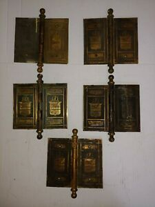 """c1890 Victorian Mansion Size Brass Door Hinges (5) w/Plates Sailing Ship 6""""x 7"""""""