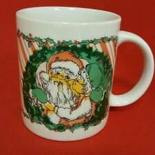1988 Houston Foods Sad Kiss Santa & Mrs. Claus Christmas Coffee Mug B25