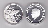 ARUBA - SILVER PROOF 10 FLORIN COIN 2004 YEAR KM#31 FISH + COA