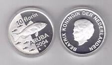 ARUBA - SILVER PROOF 10 FLORIN COIN 2004 YEAR KM#31 FISH + BOX + COA