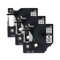 """3PK 9mm 40913 Black on White Label Tape For DYMO D1 LabelManager 3/8"""""""