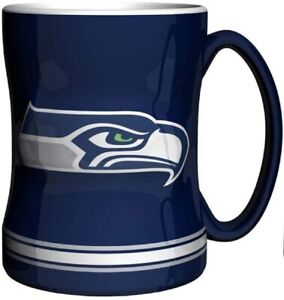 Seattle Seahawks 14 oz Team Color Sculpted Logo Relief Coffee Mug  - NEW