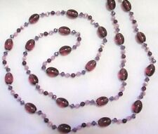 "33"" HAND KNOTTED PURPLE & LAVENDAR GLASS BEADED NECKLACE & EARRING SET"