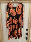 Halloween Dress Black with Pumpkins Sz M Long Sleeve Knee Length