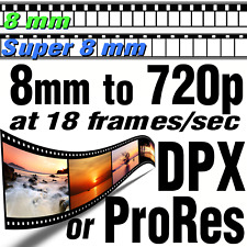 Super 8mm Movie Film to 18fps HDR HD ProRes422 HQ or DPX Files Scanning Transfer