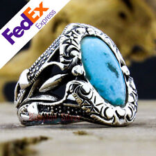 Natural Turquoise Stone 925 Sterling Silver Turkish Handmade Men's Ring