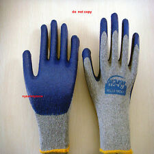 8 Pairs Premium Blue Latex Rubber Coat Palm Coated Work Gloves Large