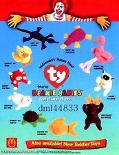1997 McDonalds Ty Teenie Beanie Babies MIP Complete Set of 10, Boys & Girls, 3+