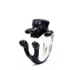 Dog Fever Sterling Silver Cane Corso Enamel Hug Ring