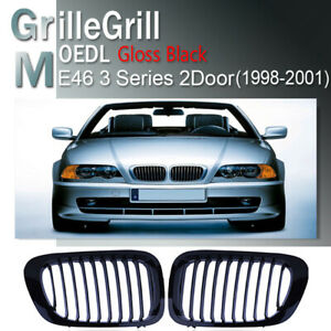 NEW 2PCS Kidney Grill Grille Gloss Black For BMW E46 Coupe 2D 1999-2003