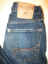 Hollister Skinny Button Fly Mens Dark Blue Denim Jeans Size 28 x 30 destructed