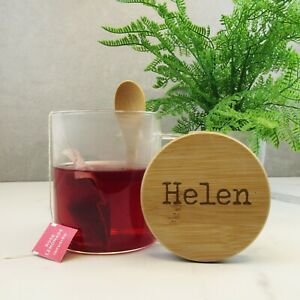 PERSONALISED Glass Mug Large 420ml Coffee Tea Cup with Wood Lid & Spoon Any Name