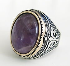 Handmade Natural Amethyst stone 925 Sterling Silver Men's Woman's Ring A64