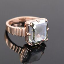 Ring in Rose Gold ! Watch Video 3.50 Ct Emerald Cut Blue Diamond Solitaire