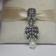 New Authentic Pandora Charm 790975P  Angel Wings with Pearl Box Included