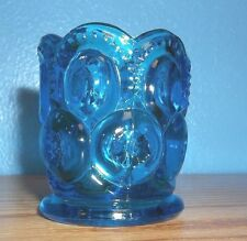 Vintage L.E. Smith Blue Art Glass Moon and Star Toothpick Holder