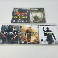 PS3 Shooter Lot of 5 Games - COD Modern Warefare 2 & 3 , Killzone 2, Resistance