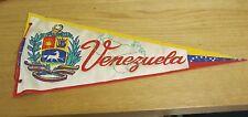 """Vintage Venezuela 16"""" Pennant Coat of Arms Flag Colors Travel Souvenir S America"""