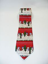 Holidays Men's 100% Silk Christmas Singing Red Snowman Neck Tie Plays Music