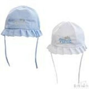 BABY BOY PRINCE SUN HAT AVAILABLE IN BLUE & WHITE   0-6   6-12   12-24 MONTHS