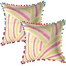 Decorative Sujani Embroidered Sofa Pillow Covers Cotton Striped Cushion Covers