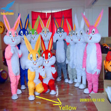Easter Bunny Yellow Rabbit Bugs Mascot Costume Outfit Dressing Adult Parade Suit