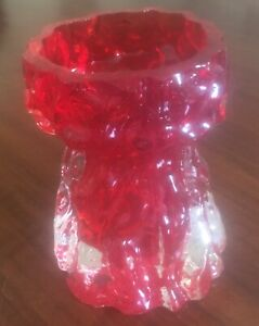Glasvase - im Fat Lava Stil - innen rot und außen transparent