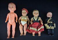 Lot de 4 poupées (poupons) rares et anciennes en celluloïd