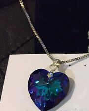 NEW GENUINE SWAROVSKI CRYSTAL18MM BLUE INDIGO HEART PENDANT SILVER NECKLACE