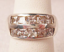 .925, Sterling Silver CZ Band Ring Double Row Channel Set Princess Cut size 5.5