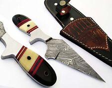 Hunting Knife Fixed Blade Damascus Steel Camel Bone/Water Buffalo Horn Handle