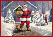 "5x8 Milliken Welcome Santa Pictorial Christmas Area Rug - Approx 5'4""x7'8"""