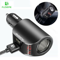 Dual USB Car LCD Cigarette Lighter Socket Splitter DC 12V Charger Power Adapter