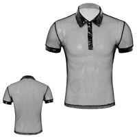 Männer Umdrehkragen durchsichtiges Netz T-shirt Tops Kurzarm Muskel Oberteil