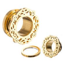 "Tunnels 25mm/1"" Gauge Body Jewelry Pair-Ornamental Gold Plate Screw On Ear"