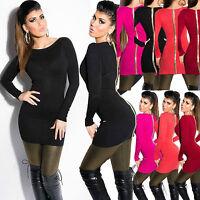 Womens Top Jumper Mini Dress Ladies Sweater Gold Zip Blouse Shirt Size 6 8 10 12