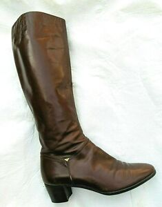 "Vintage FERRAGAMO Brown Knee High BOOTS  6 AA Narrow 1.5"" Heel"