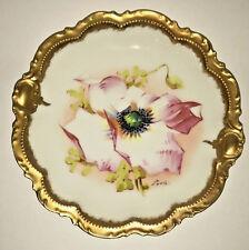 CORONET Antique French Limoges Artist Signed Plate Art Deco Poppy GOLD 9.5 Vnt